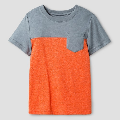 Toddler Boys' Short Sleeve Colorblock T-Shirt Cat & Jack - Orange & Grey 6, Toddler Boy's, Orange Fire Globe