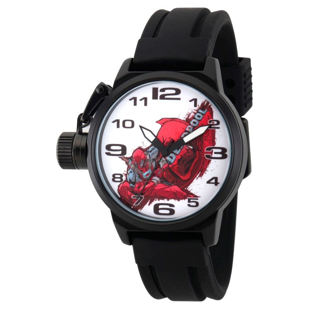 Mens Marvels Deadpool Black Alloy Crown Protector Watch - Black