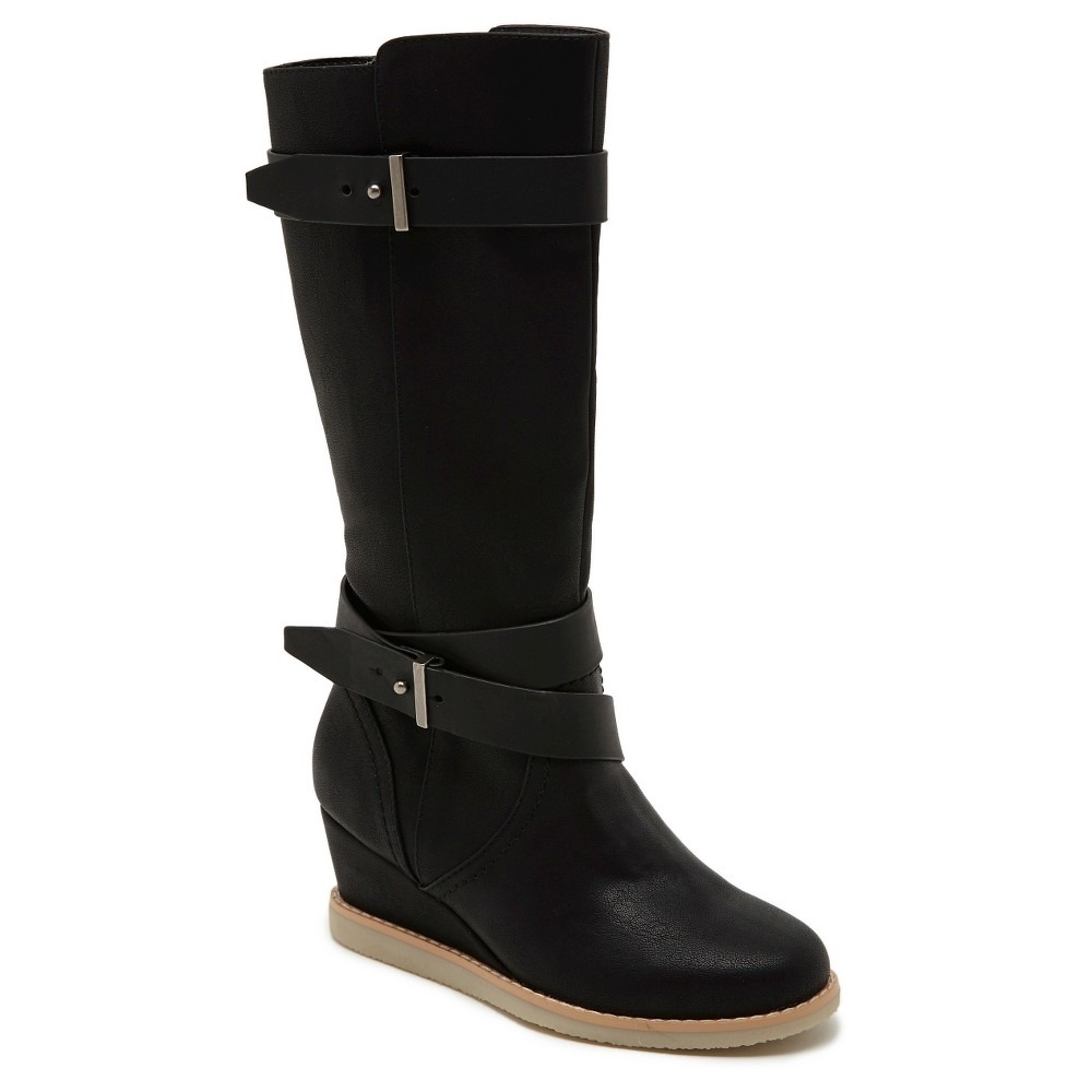 Girls Revel Daisy Tall Wedge Buckle Riding Boots - Black 1