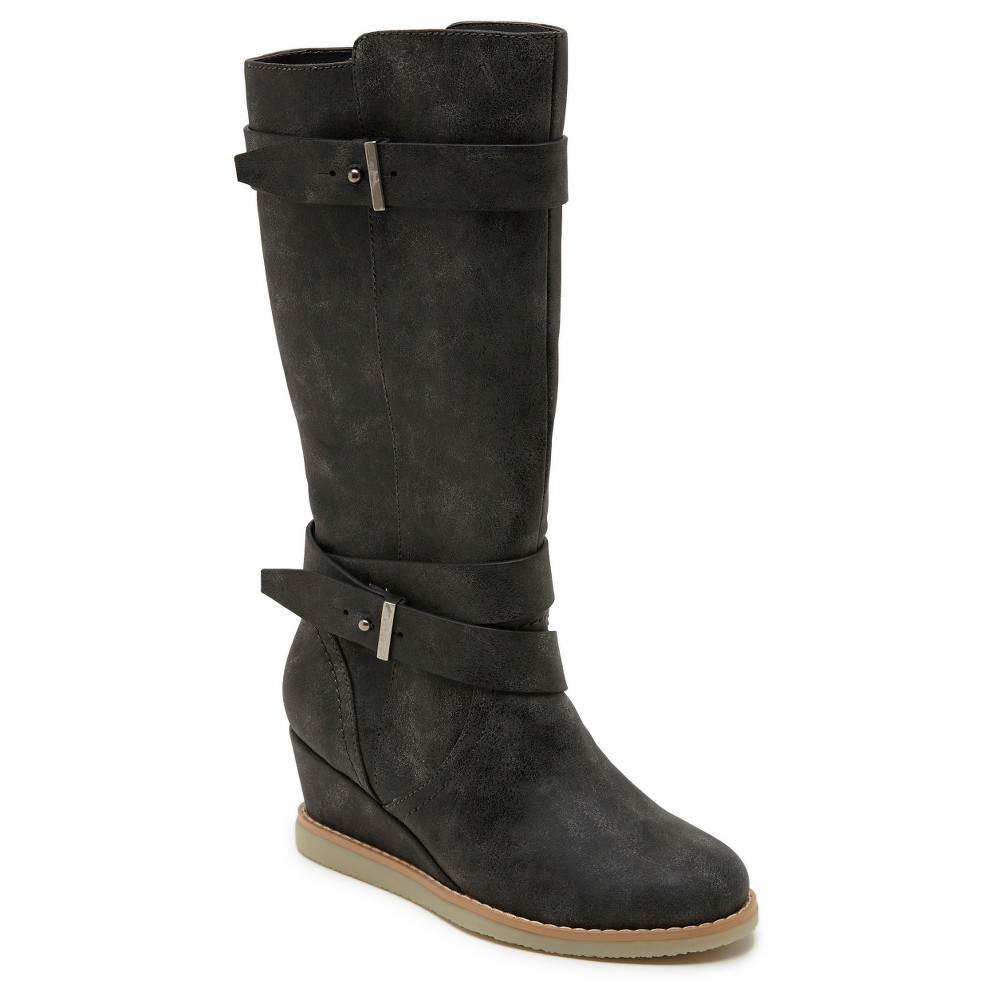 Girls Revel Daisy Tall Wedge Buckle Riding Boots - Gray 6