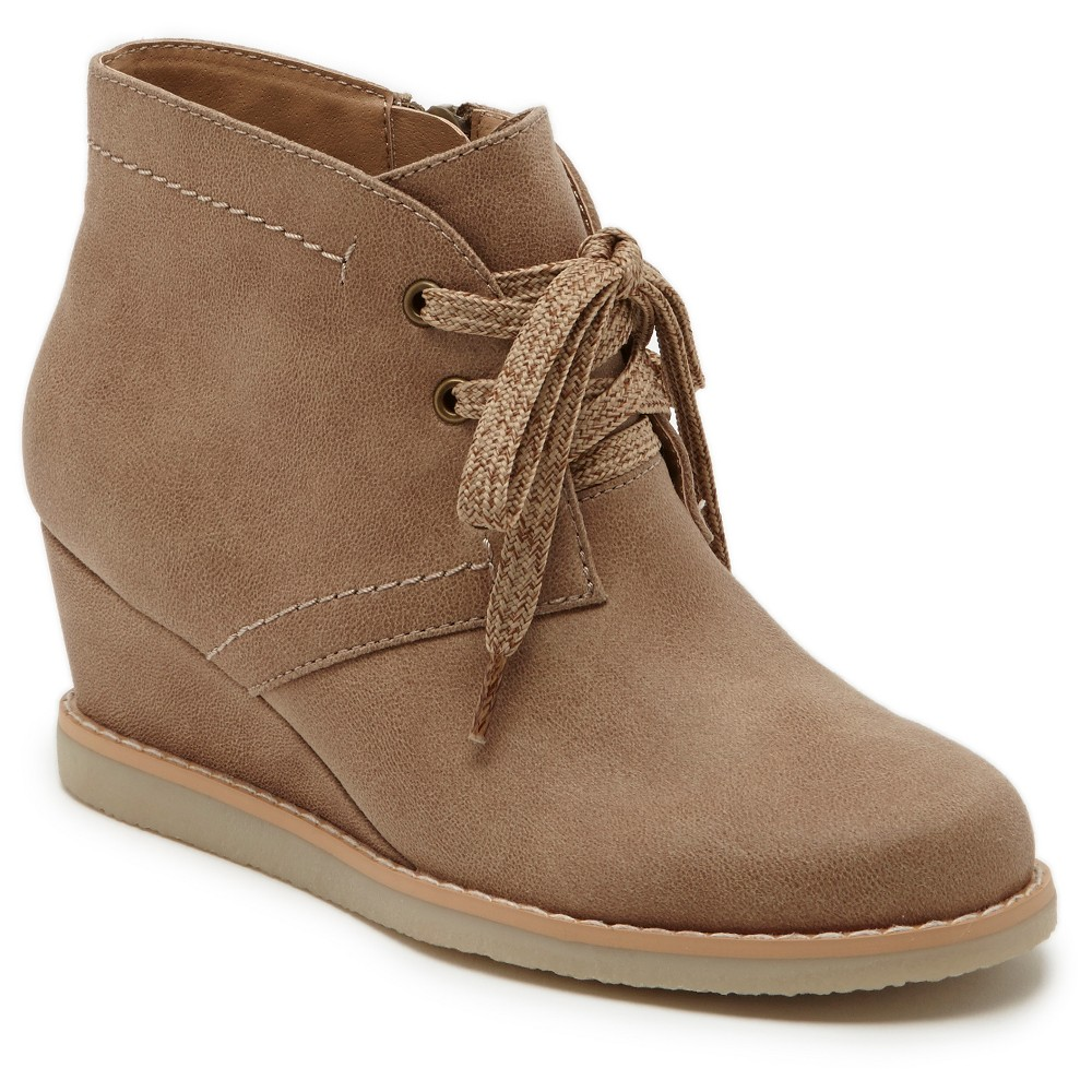 Girls Revel Danna Crate Bottom Wedge Booties - Tan 1