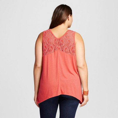 Women's Plus Size V-Neck Sharkbite Tank With Lace Up Orange 2X - Almost Famous (Juniors')