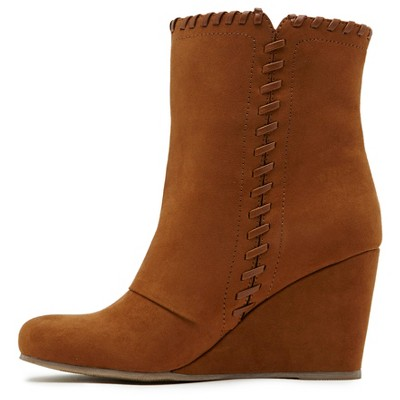 Women's Revel Fiona Whip Stitch Wedge Booties - Saddle Brown 9.5