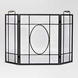 Conway Fireplace Screen Black with Burnished Brass - Threshold™