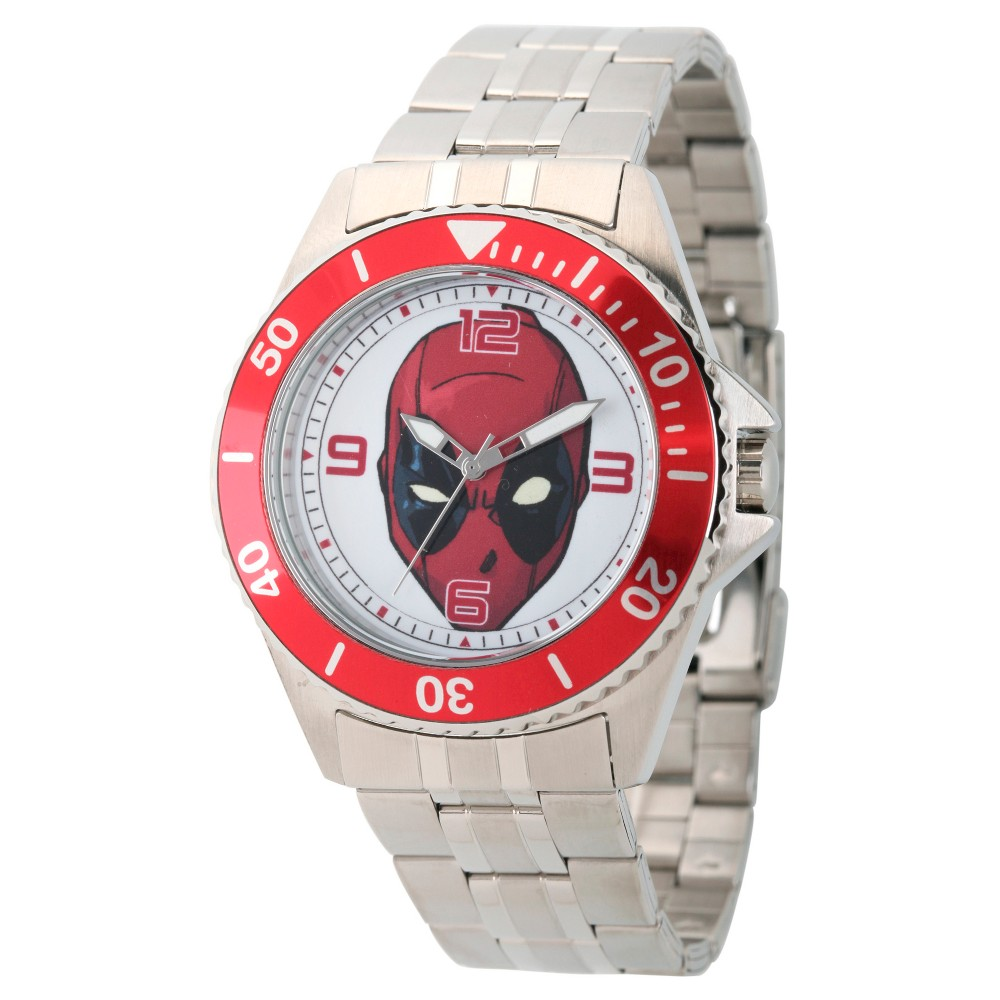 Mens Marvels Deadpool Honor Stainless Steel Watch - Silver, Light Silver