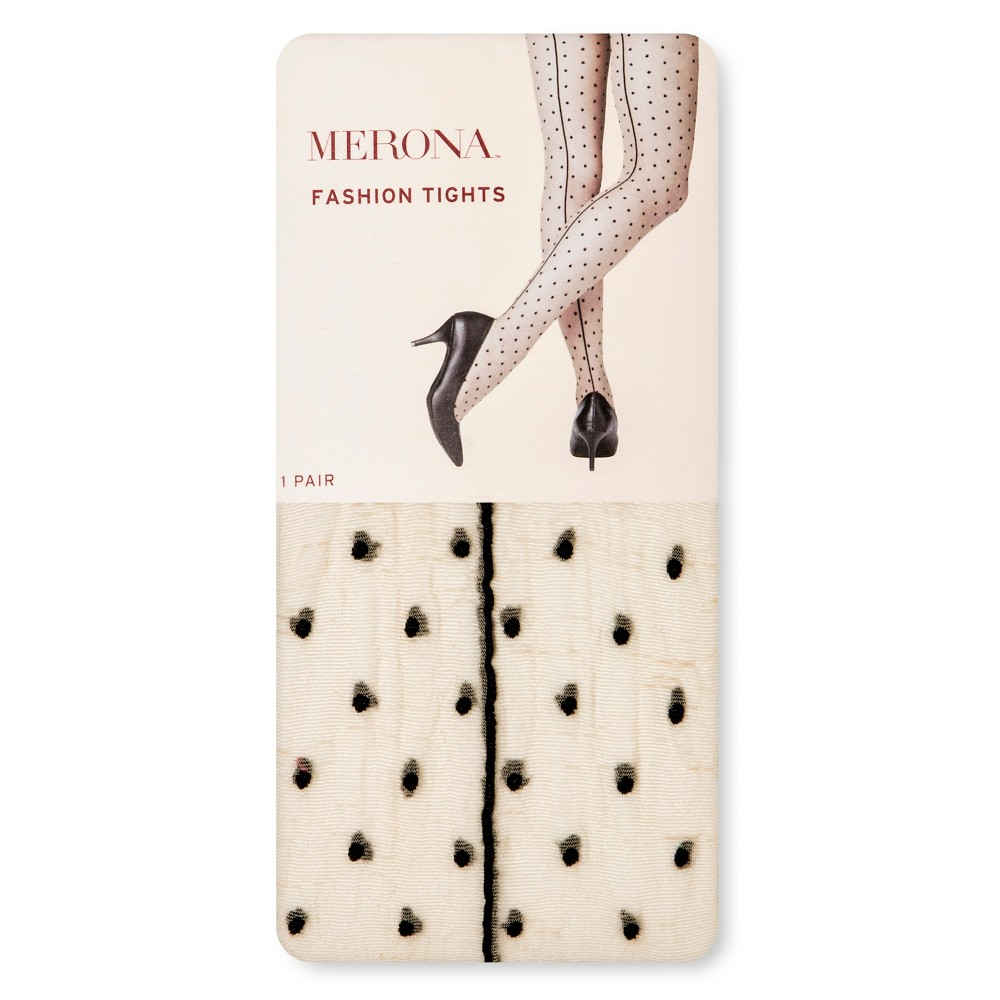 Women's Tights with Back seam Nude/Black Dots S/M - Merona, Black White