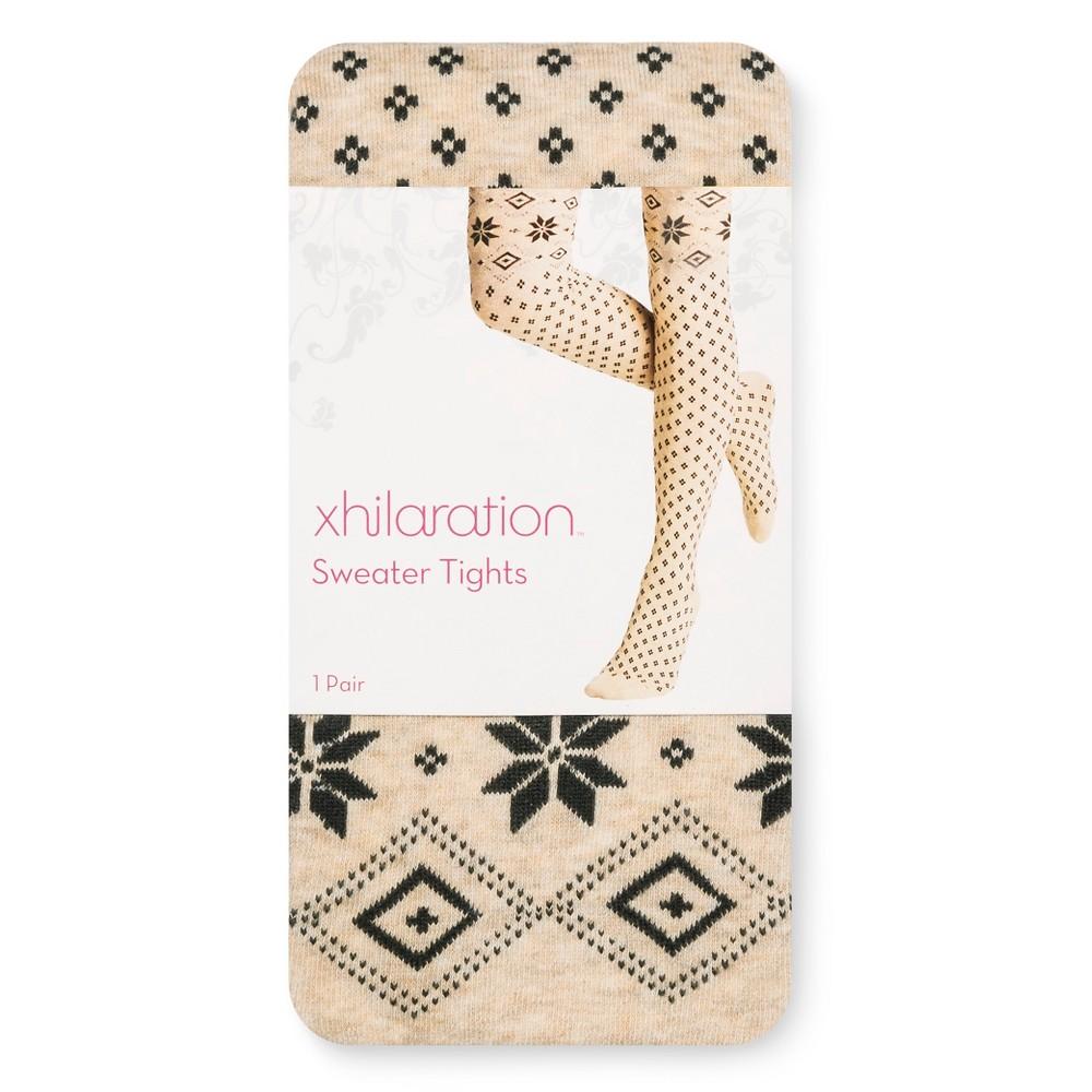 Womens Sweater Tights- Xhilaration Oatmeal Fairisle M/L, Brown