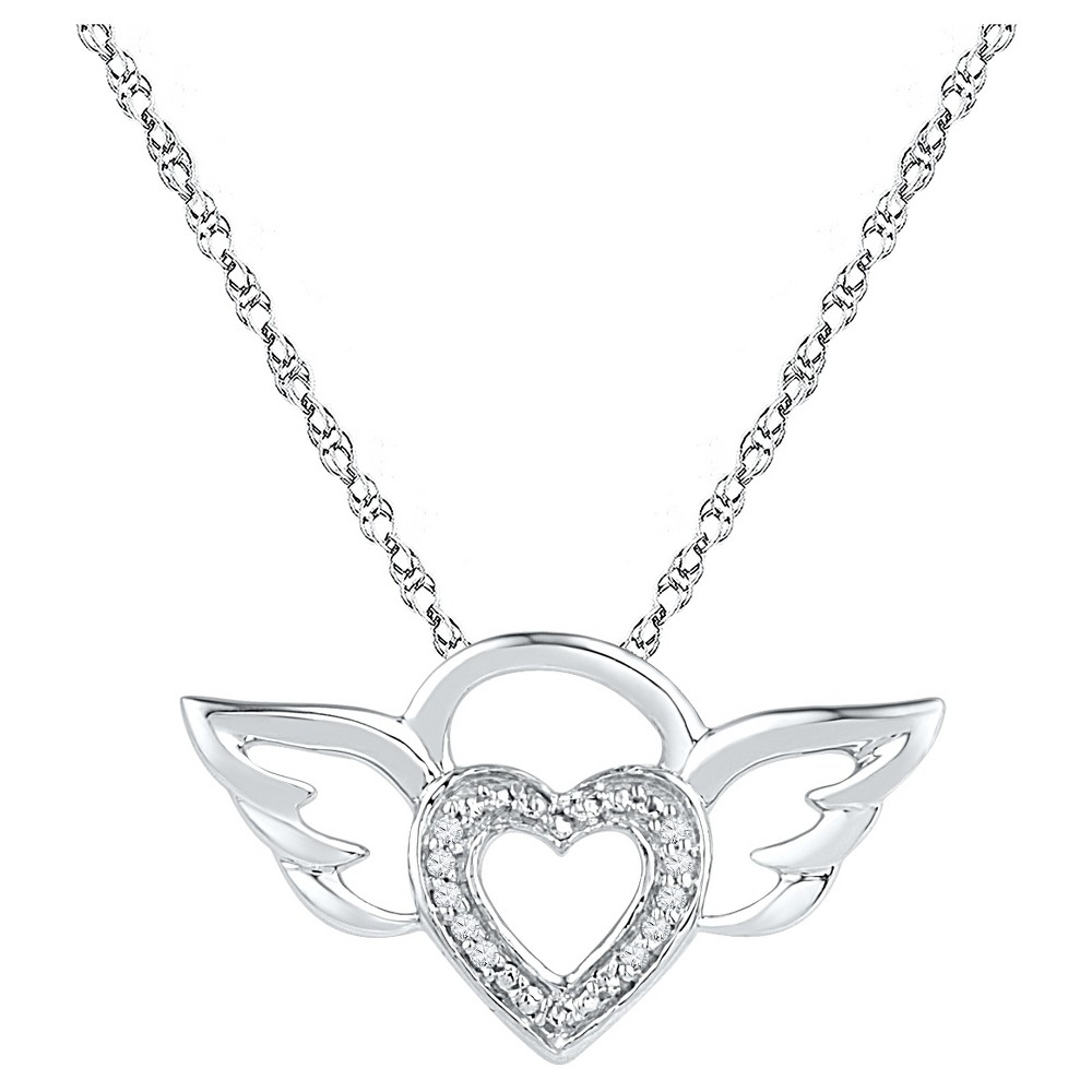 Diamond Accent Round White Diamond Prong Set Angel Wings Pendant in Sterling Silver (18 IJ-I2-I3), Womens