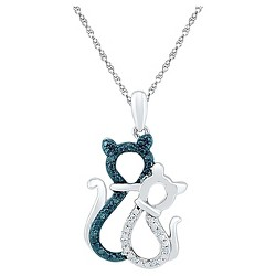 "1/20 CT. T.W. Round White/Blue Diamond Prong Set Cat-Pendant in Sterling Silver (18"" IJ-I2-I3)"