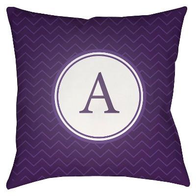 Purple Alpha Throw Pillow 18 x18  - Surya
