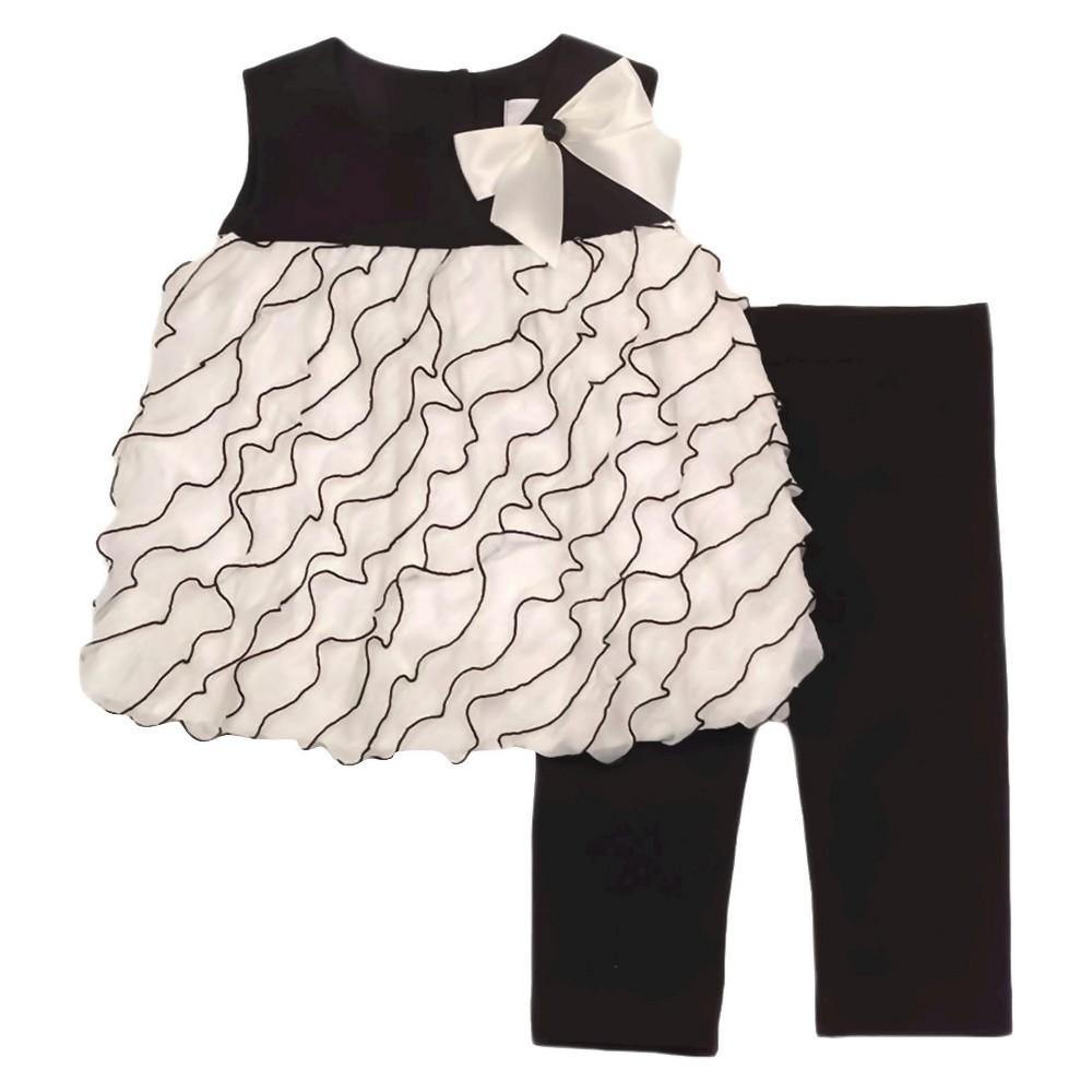 Rare, Too! Baby Girls Top & Leggings Set - Ivory/Black 3-6M, Size: 3-6 M, Beige