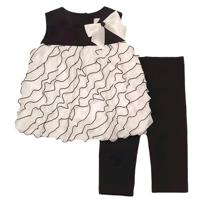 Rare, Too! Baby Girls' Top & Leggings Set - Ivory/Black 6-9M