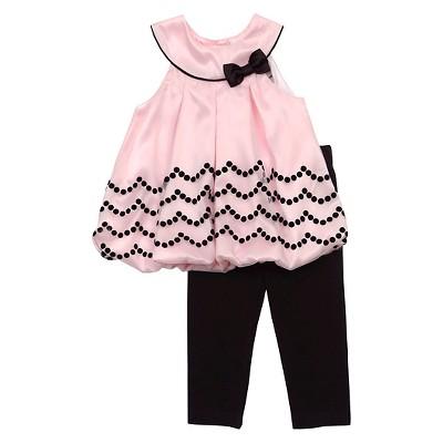 Rare, Too! Baby Girls' Bubble Top & Leggings Set - Pink/Black 6-9M