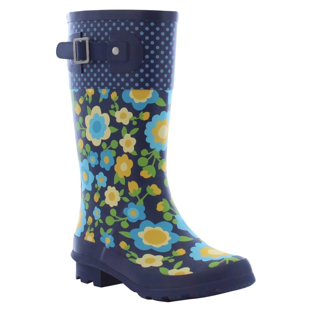 Girls Top Pop Retro Floral Matte Rain Boots - Navy 12, Blue