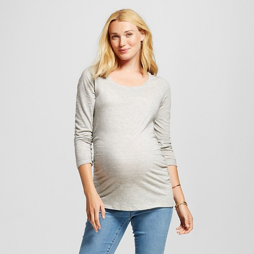 Maternity Long Sleeve Scoop Tee - Light Gray Heather XL - Liz Lange for Target, Women's
