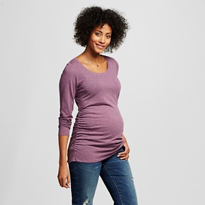 Maternity Long Sleeve Scoop Tee - Purple Heather XL - Liz Lange for Target, Women