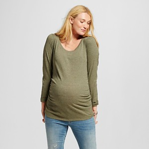 Maternity Long Sleeve Scoop Tee - Olive Heather XS - Liz Lange for Target, Women