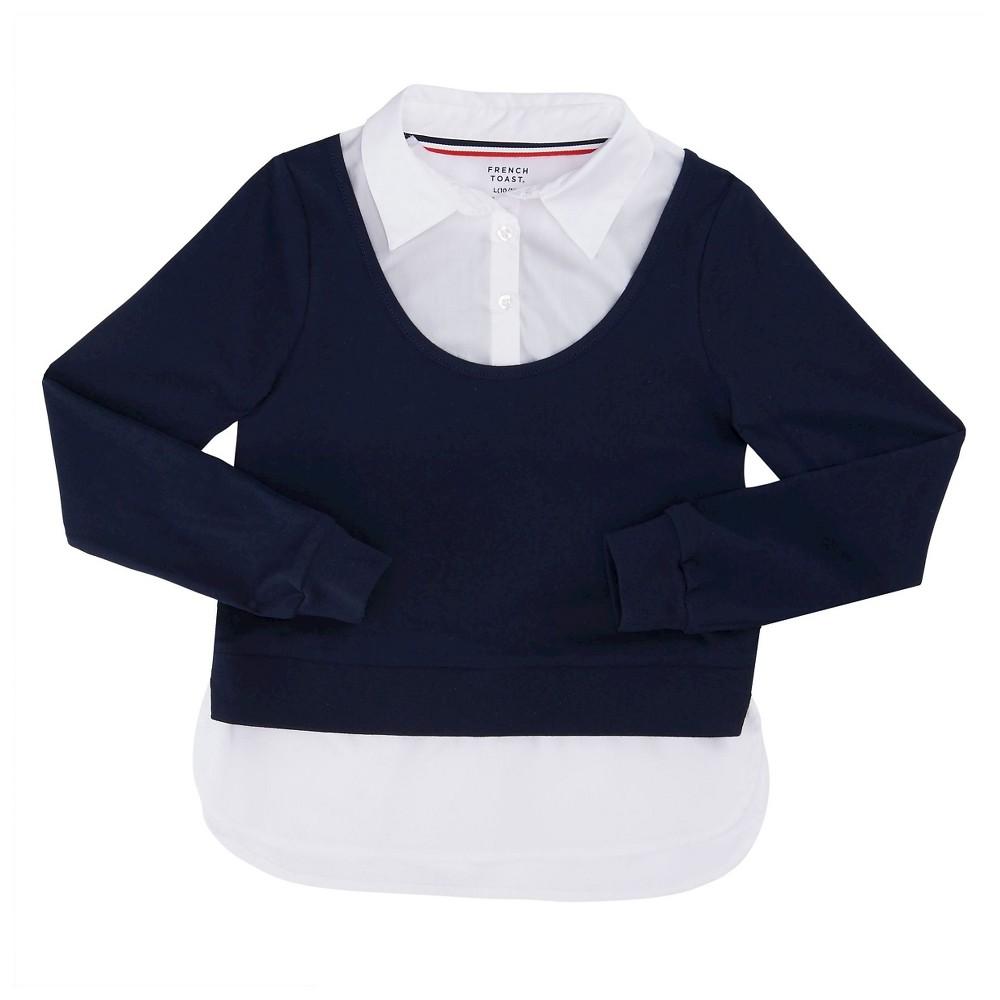 French Toast Girls Long Sleeve 2fer Shirt - Navy M, Blue