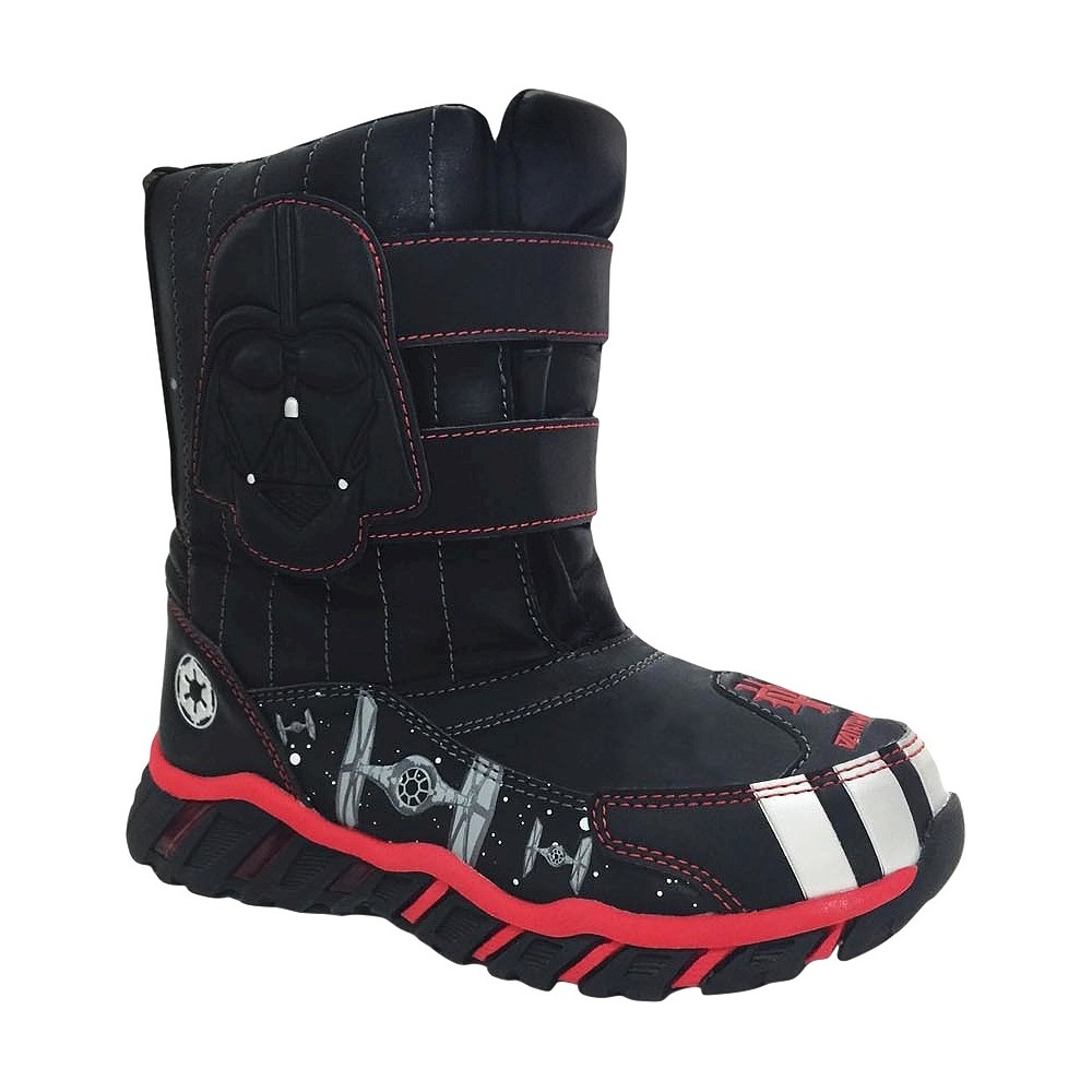 Star Wars Toddler Boy Double Velcro Strap Winter Boots - Black S, Size: S (5-6)
