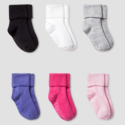 Girls' Solid Bobbie Sock with Gripper 6 pk Cat & Jack™ - Multicolored 2T/3T