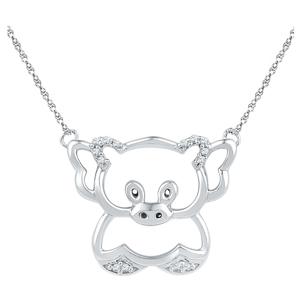 Diamond Accent Round White Diamond Prong Set Teddy Bear Pendant in Sterling Silver (18 IJ-I2-I3), Womens