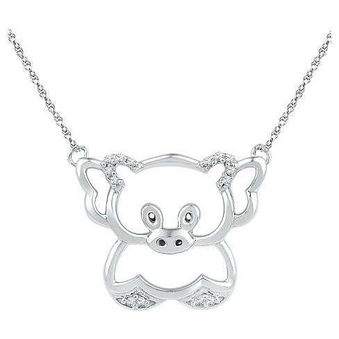 Diamond accent round white diamond prong set teddy bear pendant in about this item aloadofball Choice Image