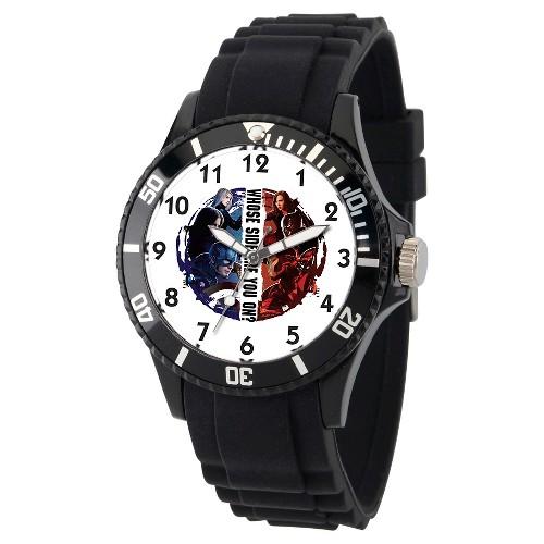Unisex Marvel's Civil War Black Plastic Watch - Black