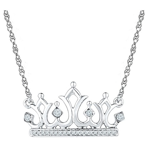 Diamond Accent Round White Diamond Prong Set Crown Necklace in Sterling Silver (18 IJ-I2-I3), Women's