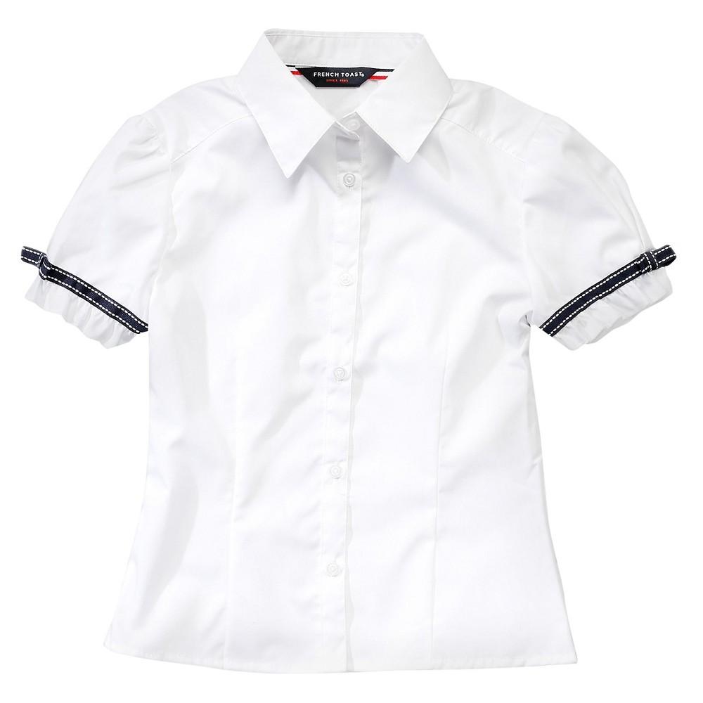 French Toast Girls Short Sleeve Blouse with Ribbon Trim 12 - White