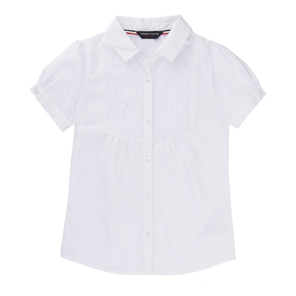 French Toast Girls Short Sleeve Blouse with Lace - White 12