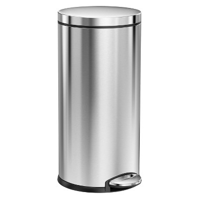 simplehuman studio 35 Liter Round Step Trash Can, Brushed Stainless Steel