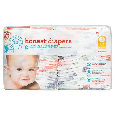 Honest Company Diapers Multi Colored Giraffes - Size 1 (44 ct)