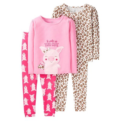 Just One You™ Made by Carter's® Baby Girls' 4pc Pink Pig Animal Print Cotton Pajama Set - 9M
