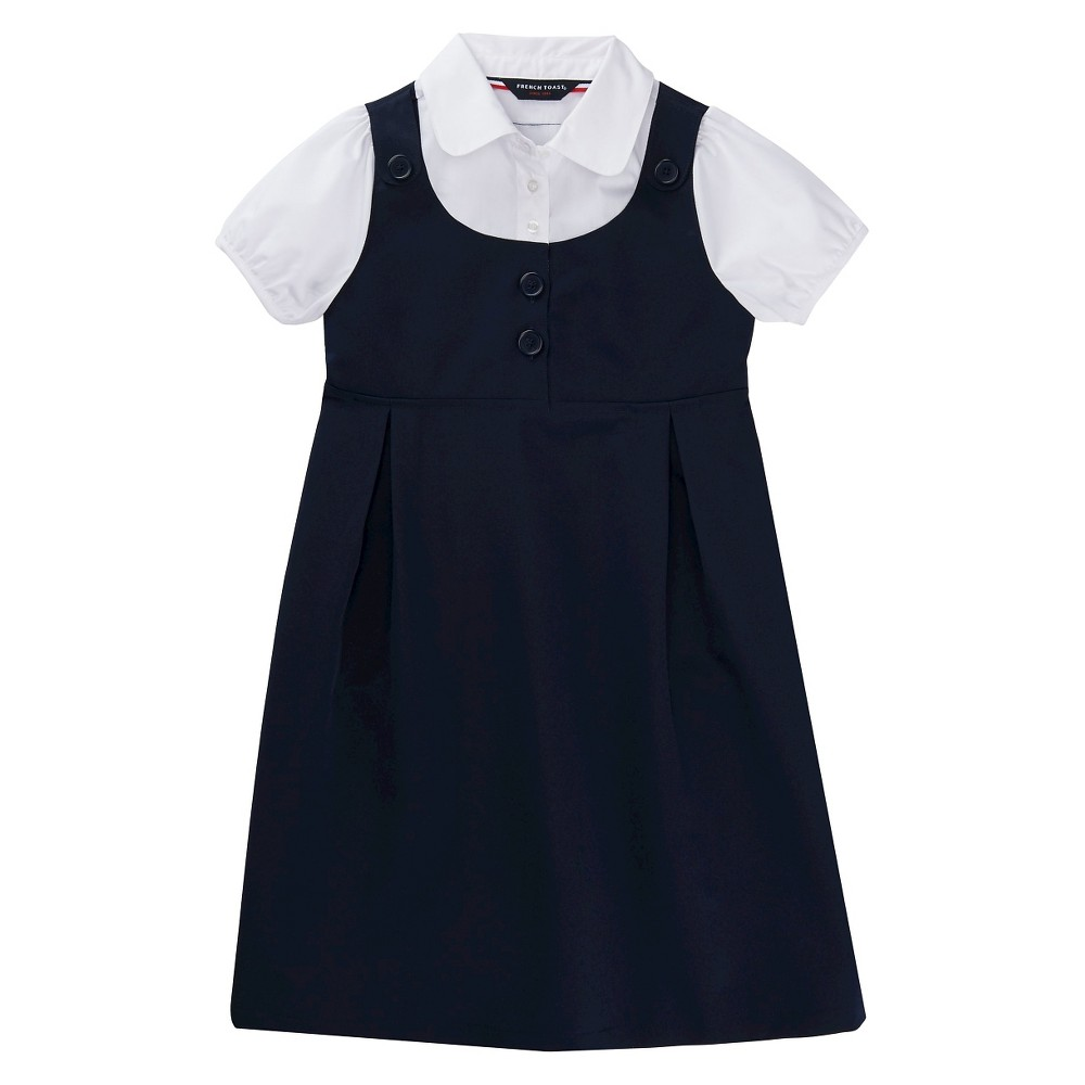 French Toast Girls Double Pocket Dress - Navy (Blue) 4