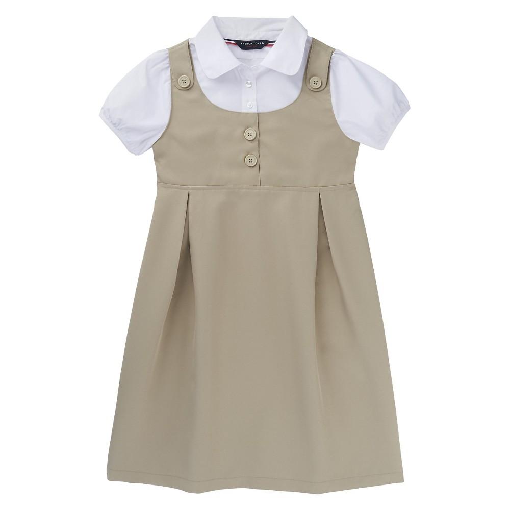 French Toast Girls Double Pocket Dress - Khaki (Green) 6X