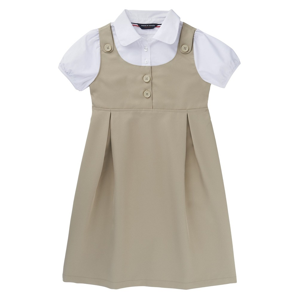 French Toast Girls Double Pocket Dress - Khaki (Green) 10