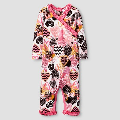 Baby Nay® Baby Girls' Crazy Hearts Kimono Romper - Pink 3M