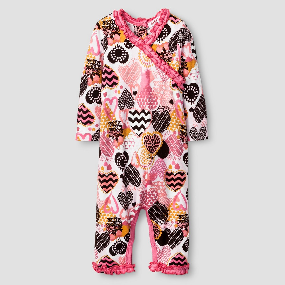 Baby Nay Baby Girls Crazy Hearts Kimono Romper - Pink 6M, Size: 6 M