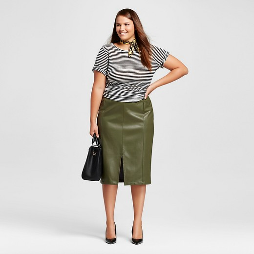 Women's Plus Size Faux Leather Split Front Pencil Skirt - Who What ...