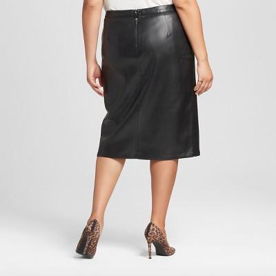 Women's Plus Size Faux Leather Split Front Pencil Skirt Black 18W - Who What Wear