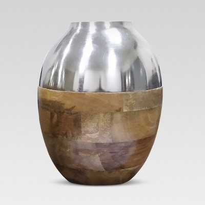 Silver and Wood Vase Small - Threshold™
