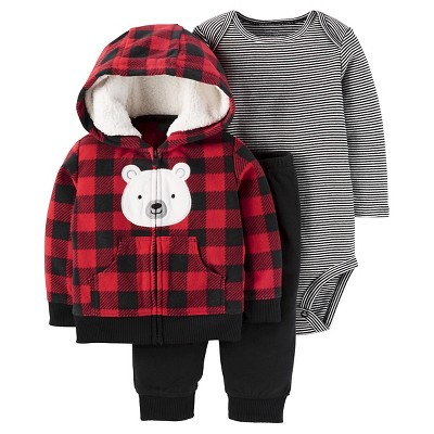 Just One You™ Made by Carter's® Baby Boys' 3pc Fleece Cardigan Set - Plaid Hooded Bear 9M