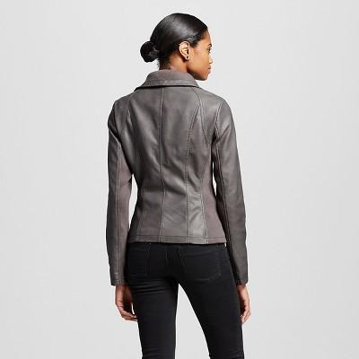 Women's Rib Trim Faux Leather Jacket Gray Xxl - Mossimo