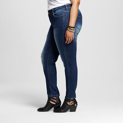 Women's Plus Size Destructed Skinny Jean Medium Blue Wash 14W - Dollhouse (Juniors')