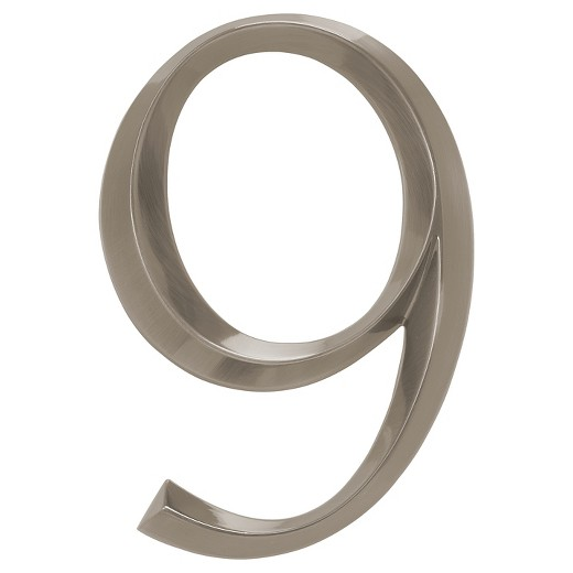 6 classic house number 9 polished nickel whitehall for Classic house numbers