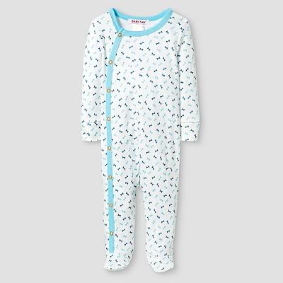Baby Nay® Baby Boys' Bones Kimono Footed Sleeper - White 3M