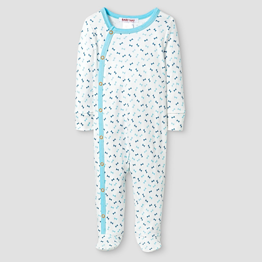 Baby Nay Baby Boys' Bones Kimono Footed Sleeper – White 3M, Infant Boy's, Size: 3 M