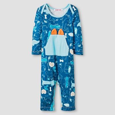 Baby Nay® Baby Boys' Woof Friends Kangaroo Pocket Romper - Blue 3M