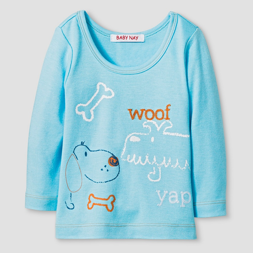 Baby Nay Baby Boys Woof Friends Long Sleeve Shirt - Blue 3M, Size: 3 M