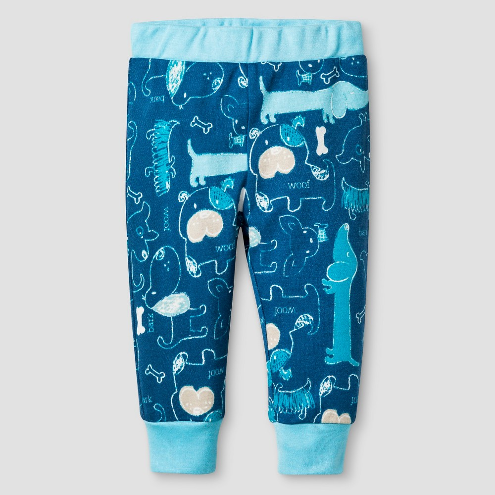 Baby Nay Baby Boys' Woof Friends Cuffed Pant – Blue 9M, Infant Boy's, Size: 9 M
